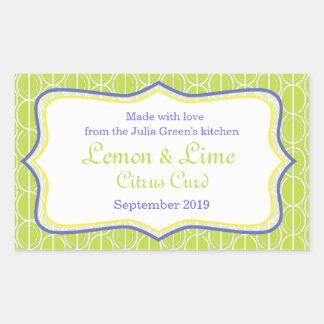 Mat för citron- och limefruktsyltgrönt märker rektangelformat klistermärke