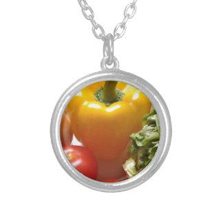 Mat för grönsallat för peppartomatgrönsaker sund silverpläterat halsband