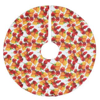 Mat för peppar för HabaneroChilies röd hoad orange Julgransmatta Borstad Polyester
