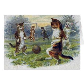 Matchen för Victoriankattfotboll noterar kortet Hälsningskort