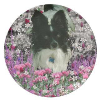 Matisse i blommor - vit & svart Papillon hund Tallrik