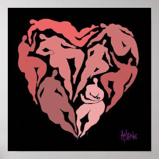 Matisse inspirerade figurer i hjärta formar poster