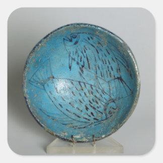 Maträtt som dekoreras med fisken (faience) fyrkantiga klistermärken