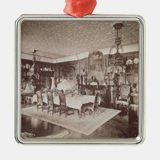 Matsalen, Wickham Hall, Kent, 1897 Silverfärgad Fyrkantigt Julgransprydnad