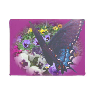 butterfly and pansy door mat