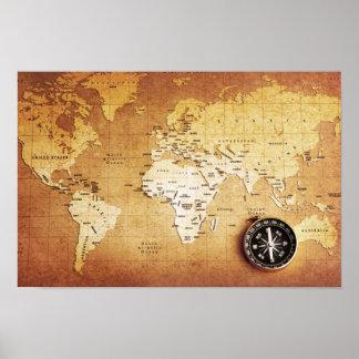 (Matte) kompass- och kartaaffischpapper, Poster