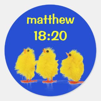 matthew 18:20klistermärkear runt klistermärke