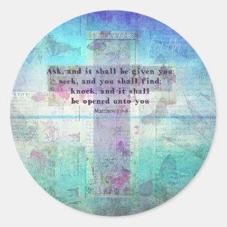 Matthew 7:7 - inspirera Versekristen för bibel 8 Runt Klistermärke