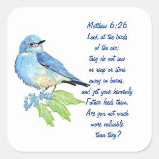 Matthew för uppmuntranbibelScripture blåsångare Fyrkantigt Klistermärke