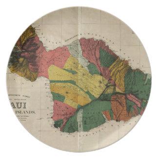 Maui - för Hawaii för vintage antikvarisk karta Dinner Plates