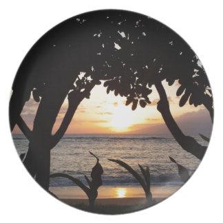 Maui Hawaii strandsolnedgång Dinner Plates