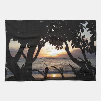 Maui Hawaii strandsolnedgång Handhanduk