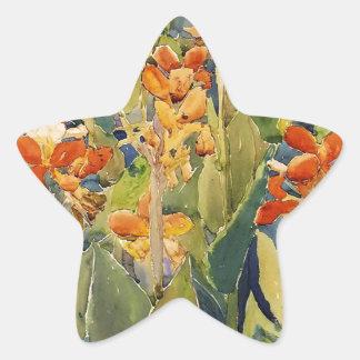 Maurice Prendergast säng av blommor Stjärnformat Klistermärke