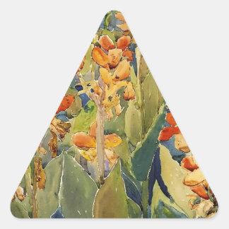 Maurice Prendergast säng av blommor Triangelformat Klistermärke