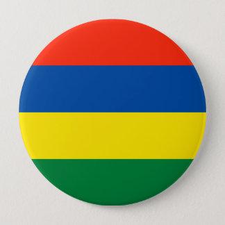 Mauritius flagga stor knapp rund 10.2 cm