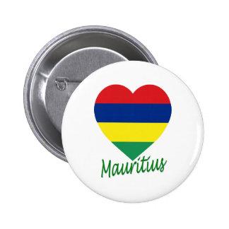 Mauritius flaggahjärta standard knapp rund 5.7 cm