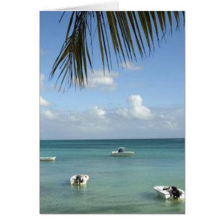 Mauritius storslagna Baie. Fartyg som ankras i Hälsningskort