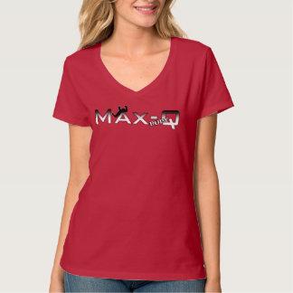 Max Q förkroppsligar kvinna Racerback den röda T-shirts