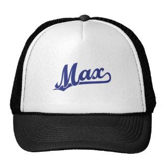 Max skriva logotypen i blått keps