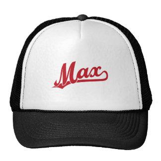 Max skriva logotypen i rött keps