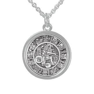 Mayan cirkla, den mexicanska hieroglyphen (Maya) Sterling Silver Halsband