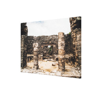 Mayan fördärvar i Tulum, Mexico Canvastryck