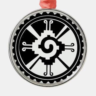 Mayan gudomsymbol Hunab Ku Rund Silverfärgad Julgransprydnad