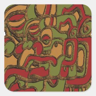 Mayan Hieroglyphsdesign Fyrkantigt Klistermärke