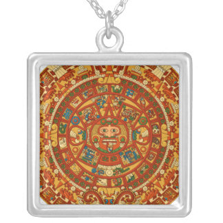'Mayan kalender Stone Silverpläterat Halsband