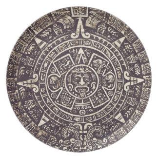 Mayan kalenderkonst pläterar tallrik