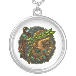 Mayan prydnad 4 silverpläterat halsband