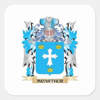 Mcarthur vapensköld - familjvapensköld fyrkantigt klistermärke