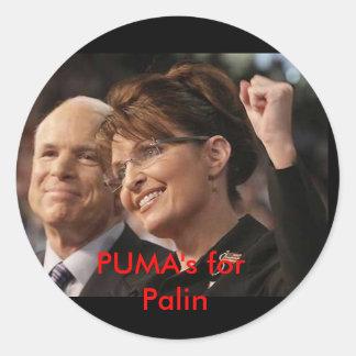 mccain och palin 2, puma för Palin Runt Klistermärke
