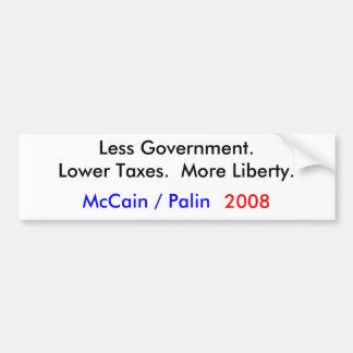 McCain/Palin 2008 = mindre regering Bildekal
