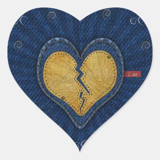 Me-dig bruten läder- och jeanstyghjärta hjärtformat klistermärke
