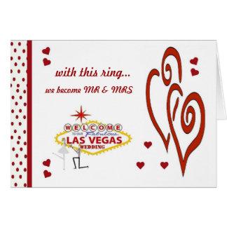 med denna ring blir vi Herr Fru Las Vegas Weddi Hälsnings Kort