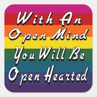 Med ett öppet vara besvärad dig ska är öppet fyrkantigt klistermärke