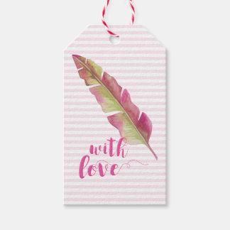 med rosor för kärlek | och gröna märkre för Boho Presentetikett