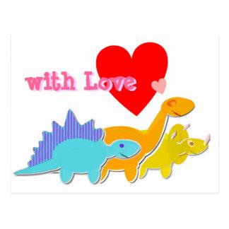 med vykortet för Dinosaurs för kärlekhjärta den Vykort