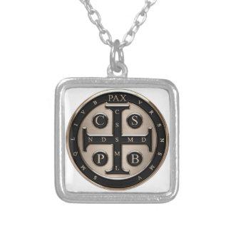 Medalj för St. Benedict Silverpläterat Halsband