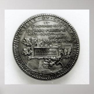 Medalj som firar minnet av öppningen av Suezen Poster
