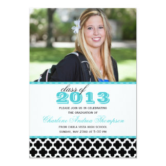 Meddelande 2013 för blåttQuatrefoil studenten 12,7 X 17,8 Cm Inbjudningskort