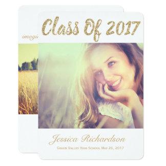 Meddelande 2017 för studenten för fotoguldfoto 12,7 x 17,8 cm inbjudningskort
