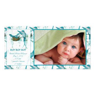Meddelande för bild för fågel för pojkevintagebaby fotokort mall