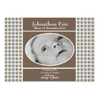 Meddelande för blått- och bruntpojkefödelse 12,7 x 17,8 cm inbjudningskort