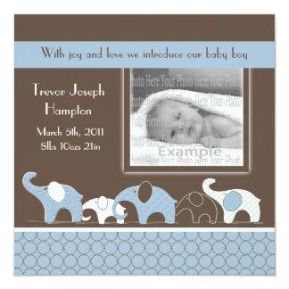Meddelande för blåttelefantpojke fyrkantigt 13,3 cm inbjudningskort