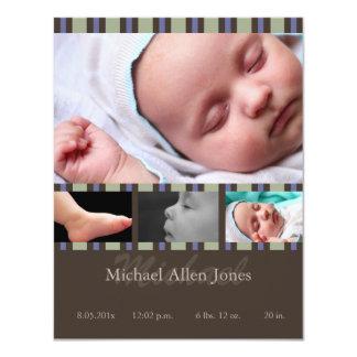 Meddelande för blåttrandfödelse 10,8 x 14 cm inbjudningskort