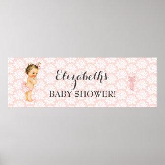 Meddelande för dusch för för vintageflickarosor & poster