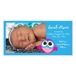 Meddelande för flickaugglafödelse fotokort