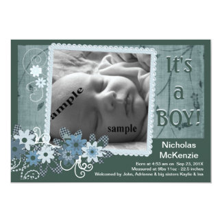 Meddelande för födelse för blåttnyfödd bebispojke personliga inbjudan
